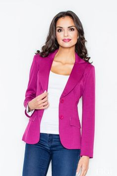 Call off the search with our Blazer With Tailored Waist In Magenta Pink. Shop unique fashion at SilkFred Rosa Blazer, Hot Pink Blazers, Estilo Fashion, Blazer Outfits, Pink Jacket, International Fashion, Neue Trends, Magenta, Sexy
