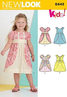 New Look Pattern 6443 Child& Dress with Fabric and Trim VariationsWe offer a vast range of Simplicity sewing patterns in a variety of fun and exciting styles.Mix cute fabrics and prints Easy Baby Sewing Patterns, New Look Patterns, Baby Girl Dress Patterns, Baby Dress Patterns, Baby Clothes Patterns, Pattern Sewing, Baby Outfits, Kids Outfits, Baby Frock Pattern