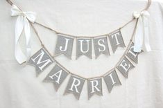Just Married Wedding banner rustic wedding by HameleonShop on Etsy Wedding Car, Fall Wedding, Diy Wedding, Dream Wedding, Wedding Ideas, Burlap Banner Wedding, Rustic Wedding Signs, Burlap Banners, Wedding Banners