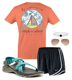 """Life is good on our boat//Hailey"" by seven-days-of-prep ❤ liked on Polyvore featuring NIKE, Ray-Ban and Chaco"