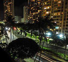Ala Moana Boulevard by night Night Photography, Travel Photography, Honolulu Hawaii, Long Exposure, Business Travel, Palm Trees, Plants, Instagram, Palm Plants