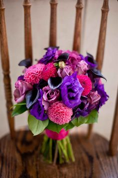 Pretty bouquet! Reminds me of berries.. love the royal colors.