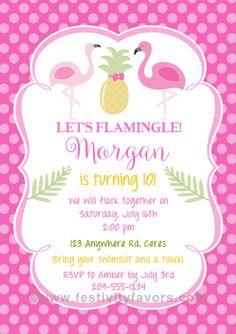 Flamingo Pineapple Party Invitations  $1.00 each  http://www.festivityfavors.com/item_970/Flamingo-Pineapple-Party-Invitations.htm