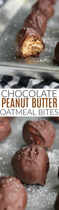 These amazing Salted Chocolate Covered Peanut Butter Oatmeal Bites are a super satisfying snack or treat packed with whole grain goodness and plenty of chocolate. Vegan and gluten-free!