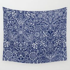 Detailed+Floral+Pattern+in+White+on+Navy+Wall+Tapestry+by+Micklyn+-+$39.00