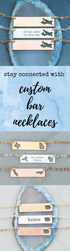 Custom bar necklaces with your state or country and custom text. For far away friends, military families, or show your hometown pride. Wear one with your loved one and stay connected! #militaryfamilies #deployment #bff #bffnecklace #longdistance #militarymoms #navy #army #usmc #airforce #yellowribbon