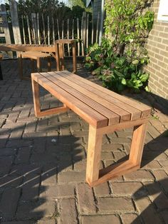Diy Furniture Plans Wood Projects, Diy Outdoor Furniture, Woodworking Projects Diy, Outdoor Wood Bench, Furniture Ideas, Rustic Wood Bench, Outdoor Wood Projects, Wood Patio Furniture, Diy Outdoor Table