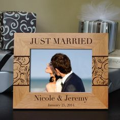 Design's Just Married Picture Frame with Font by DesignstheLimit