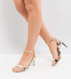 b3f5357c803 Asos HALF TIME Wide Fit Barely There Heeled Sandals Bridesmaid Shoes