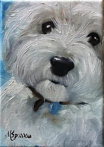 Sparrow Westie West Highland Terrier Miniature Art Stocking Stuffer Westie Art | eBay