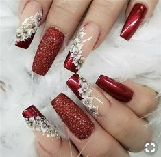 Sparkle and Shine Into 2019 With These 48 Gorgeous Nail Ideas 48 Gorgeous Nail Choices For Whether you enjoy a natural manicure, gel nails, or acrylic nails, or even just painting your own nails, these nail designs would be a perfect fit for anyone. Acrylic Nail Designs, Nail Art Designs, Acrylic Nails, Coffin Nails, Fancy Nails Designs, Elegant Nail Designs, Bling Nails, Red Nails, Perfect Nails