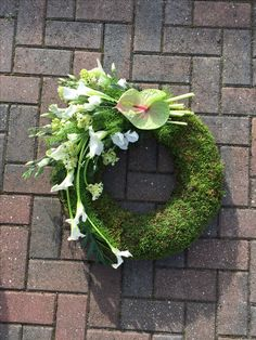 Different from the usual funeral tribute is this unique and alternative green mossed wreath design with trailing focal spray of white calla Lily, lisianthus, ornithagalum and anthurium. Funeral Floral Arrangements, Flower Arrangements, Funeral Flowers, Wedding Flowers, Wreaths For Funerals, Funeral Sprays, Moss Wreath, Funeral Tributes, Cemetery Flowers