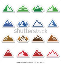 Mountain vector icons set  by RedKoala #ski #snowboard #hike