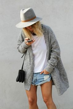 Cardigan: fashionblogger fashion grey oversized fedora felt hat grey hat distressed denim shorts