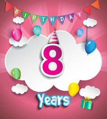 8 years Anniversary Celebration Design, with clouds and balloons, confetti. using Paper Art Design Style, Vector template elements for your birthday celebration party.
