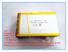 Free shipping 3.7 V 2800 mah tablet battery brand tablet general polymer lithium battery 2970115 #Affiliate