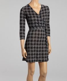 Take a look at this Gray Houndstooth Surplice Dress by Star Vixen on #zulily today!