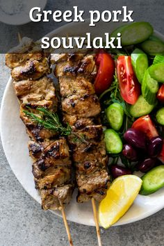 Souvlaki Pork, Souvlaki Recipe, Grilled Chicken Recipes, Pork Recipes, Cooking Recipes, Healthy Recipes, Healthy Foods, Vegetarian Recipes, Pork Skewers