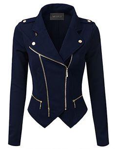 Doublju Slim Fit Asymmetrical Zip-Up Moto Jacket Navy Small Coats For Women, Jackets For Women, Clothes For Women, Ladies Coats, Cute Jackets, Biker Jackets, Outerwear Jackets, Casual Jackets, Slim Fit Jackets
