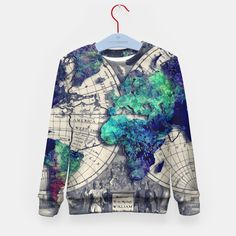 world map Kid's Sweater, Live Heroes