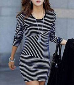 Striped All-Match Casual Style Scoop Neck Long Sleeve Women's Dress #Fashion #Style