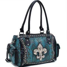 Women's Rhinestone Fleur de Lis Animal Print Snakeskin Handbag Purse Turquoise | eBay