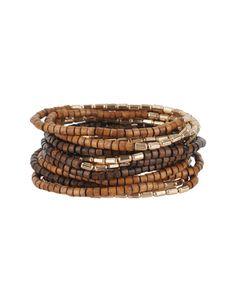 Glass and wood bead bangle