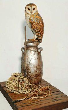 Miniature owl carving
