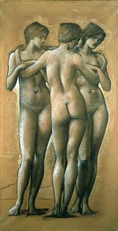 Sir Edward Burne-Jones Venus Concordia - Study of the Three Graces, Charcoal Drawing, 1895