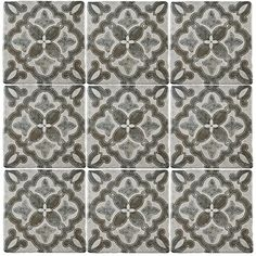 Merola Tile Costa Cendra Decor Clover 7-3/4 in. x 7-3/4 in. Ceramic Floor and Wall Tile (11.5 sq. ft. / case)