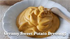 This creamy sweet potato dressing is so rich and decadent… you won't believe that it's vegan! It is hands down one of my all time favorite dressings. I love using this on salads, potatoes, pasta and even as a sandwich spread. Fat Free Vegan, Nutrition For Runners, Delicious Vegan Recipes, Vegan Desserts, Vegan Food, Potato Vegetable, Vegan Sauces, Whole Food Recipes, Family Recipes