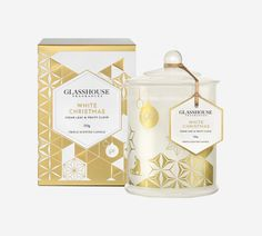 Limited Edition White Christmas Cedar Leaf and Fruity Clove Triple Scented Candle by Glasshouse Fragrances