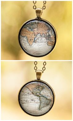 Antique Map Pendant Globe Pendant Image Pendant Old by LadyArtTalk