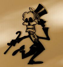Skeleton,Skull,Gothic,Metal Art,Tattoo,Top Hat,Dance,Cane,Gift,Wall Decor