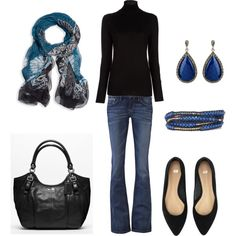 """Black & Blue - can I have some """"me"""" sized jeans and I would love this outfit!"""