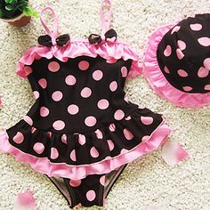 Pink Polka Dot Swimsuit · Jane's Boutique Photography · Online Store Power… Rosa gepunkteter Badeanzug · Jane's Boutique-Fotografie · Online-Shop Powered by Storenvy Little Girl Fashion, Little Girl Dresses, Kids Fashion, Baby Swimwear, Swimwear Brands, Baby Girl Swimsuit, Baby Bikini, Trendy Baby, Baby Dress