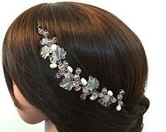 Tocado de novia flor de novia accesorios Wedding por BeHappyWedding