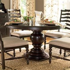 "Round Pedestal Table   	One 18"" leaf 	Without leaf: Diameter: 54"" (Round) 	With leaf: Width: 54"" - Length: 72"" (oval)"