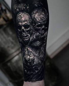 Horror Gallery by Sandry Riffard - Cool Tattoos - .- Horror Gallery by Sandry Riffard – Cool Tattoos – Gallery - Evil Skull Tattoo, Evil Tattoos, Skull Sleeve Tattoos, Creepy Tattoos, Skull Tattoo Design, Best Sleeve Tattoos, Badass Tattoos, Viking Tattoos, Tattoo Sleeve Designs