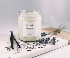 Natural Candles, White Candles, Soy Wax Candles, Scented Candles, Candle Jars, Lavender Candles, Vanilla Oil, Vanilla Essential Oil, Candle Branding