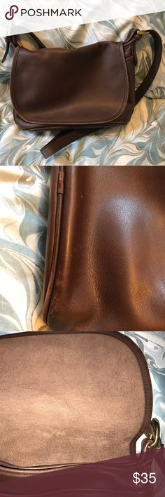 👜Vintage Coach Crossbody bag👜 🌺 Beautiful Vintage Coach Crossbody bag. Shows signs of its age (pictured) but it is still a stunning bag. Inside is very clean and the leather is super soft. Brass accents. Sorry, no dust bag. Coach Bags Crossbody Bags