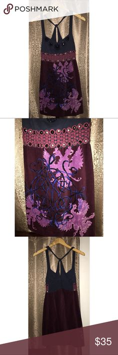 Free People Burgundy Velvet Bodice Dress Size 12 Pre-owned, In good condition. Free People embellished burgundy and navy dress. Navy bodice. Velvet skirt. Cross back. Size 12. 100% cotton. Smocked back. Side zipper closure. Free People Dresses Mini