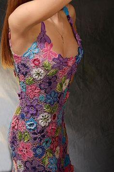 Beautiful, colorful flowered crochet dress!