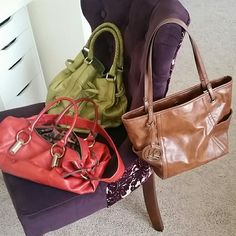 "Bundle of purses Green purse is by ""the Sak"", red is by Makowsky and brown has no brand. Used very gently. Bags"