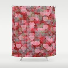 'Hearts! Hearts! Hearts!' shower curtain by LLL Creations. This design is available in many different products.    #society6 #society6_products #LLLCreations #showercurtains