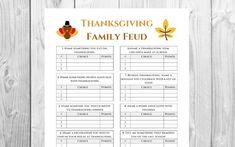 Thanksgiving Family Feud Game  Friendsgiving Game Printable  | Etsy