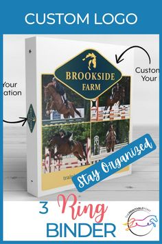 Keep yourself organized with this customized 3 ring binder. Add your logo, pictures and more to this sleek binder - perfect for traveling and showing when you need your paperwork on-the-go. Free Design, Custom Design, Logo Pictures, Three Ring Binders, Horse Care Tips, Bonnet Pattern, Custom Binders, One And Other, Handmade Design
