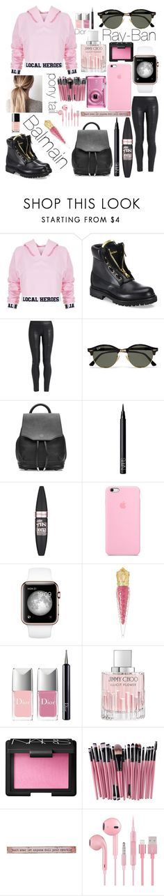 """Untitled #269"" by prettyfashionista03 ❤ liked on Polyvore featuring Local Heroes, Balmain, The Row, Ray-Ban, rag & bone, NARS Cosmetics, Maybelline, Christian Louboutin, Christian Dior and Jimmy Choo"