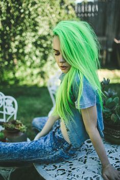 ↓ select a hair color ↓ Neon Hair, Pastel Hair, Blue Hair, Neon Green Hair, Hair Art, My Hair, Hair Inspo, Hair Inspiration, Bright Hair