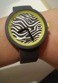 O clock watch with zebra print # silicon bracelet # switch colors and patterns in a sec